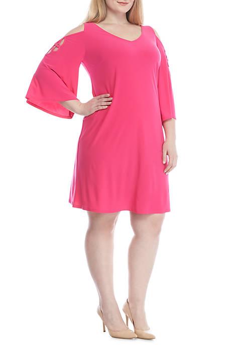 Plus Size 3/4 Cold-Shoulder Sleeve Soutache Top