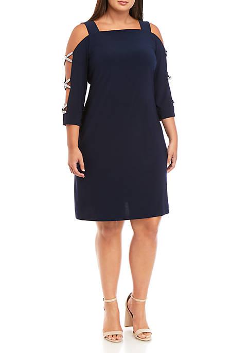 MSK Plus Size Ladder Sleeve Dress
