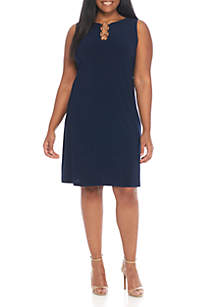 Plus Size Sleeveless Solid A-Line Dress