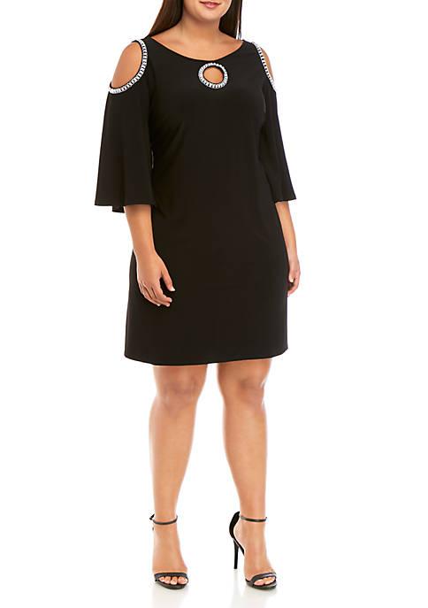 Plus Size Rhinestone Trim Cold Shoulder Jersey Dress