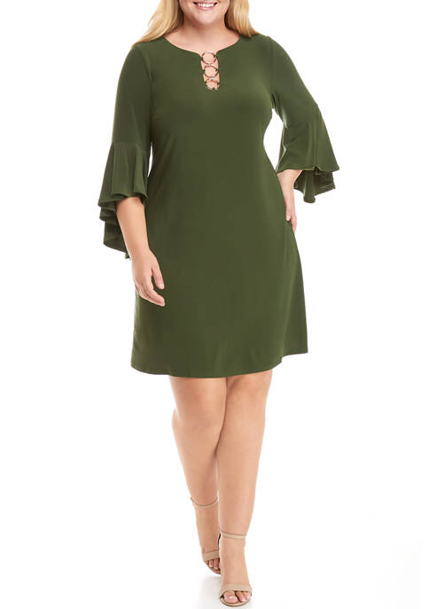 IVY ROAD Plus Size 3-Ring Flare Sleeve A-Line