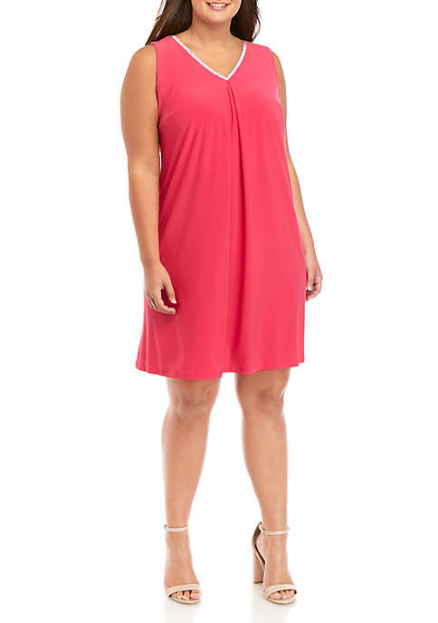 Plus Size Sleeveless V Pleat Front Rhinestone Dress
