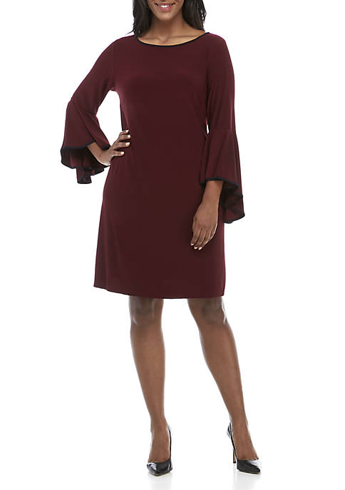 Plus Size Piped Knit Dress