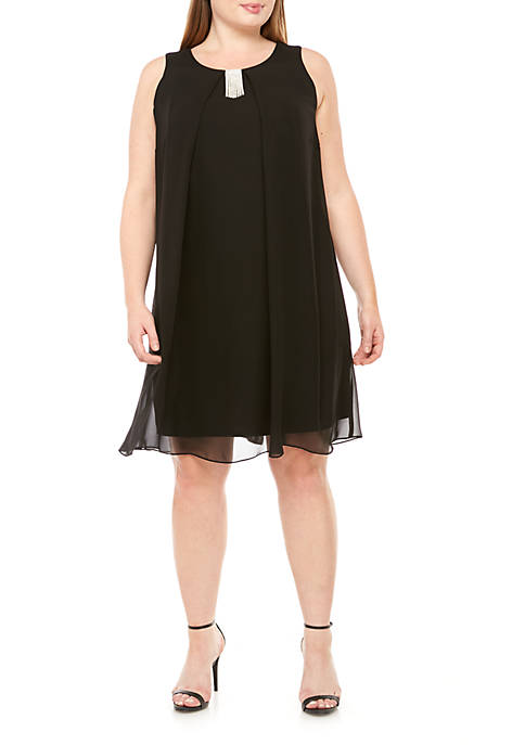 MSK Plus Size Cinched Sleeveless Overlay Dress