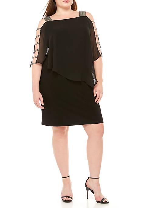 MSK Plus Size Ladder Sleeve Chiffon Popover Dress