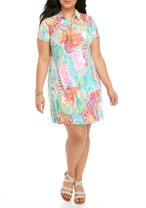 IVY ROAD Plus Size Paisley Shirt Dress