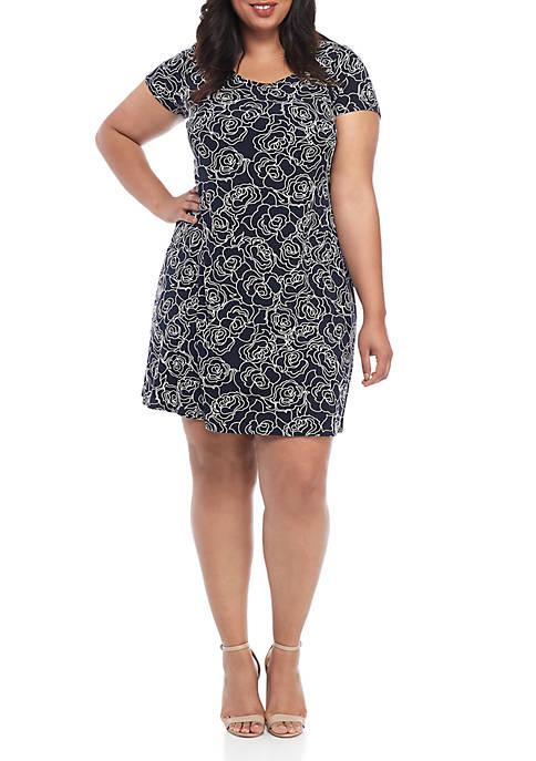 Plus Size Short Sleeve Puff Print A Line Dress