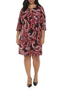 Plus Size 3 Ring Paisley Print Dress