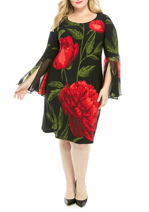 MSK Plus Size Floral Print Bell Sleeve Dress