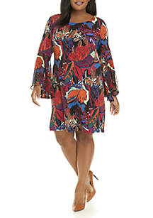 Plus Size Woven Bell Sleeve Dress