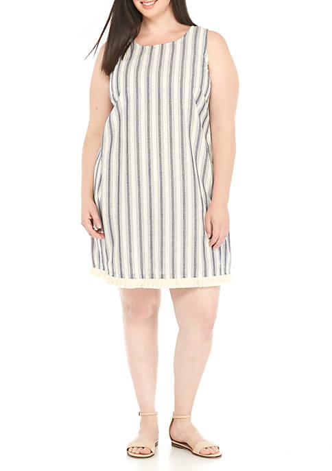 MSK Plus Size Stripe with Fringe Sleeveless Dress