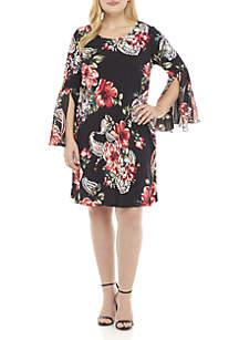 Plus Size Floral Print Scoop Neck Dress