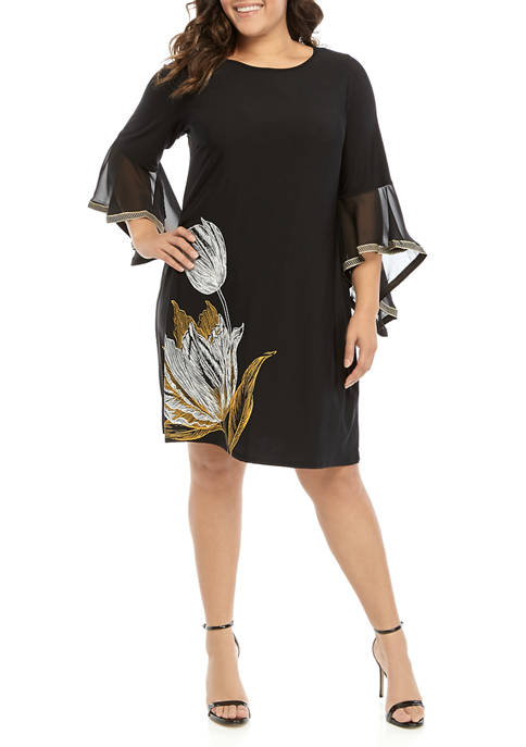 IVY ROAD Plus Size Bell Sleeve Placement Print