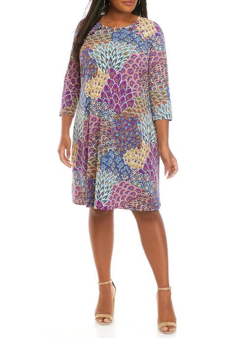 IVY ROAD Plus Size 3/4 Sleeve Peacock Print