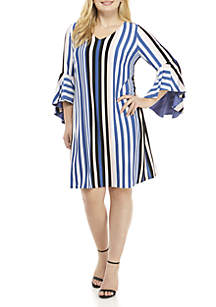 IVY ROAD Plus Size Stripe V-Neck with Exaggerated Ruffle Sleeve Dress