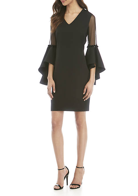 Cocktail Shift Dress with Mesh Bell Sleeves
