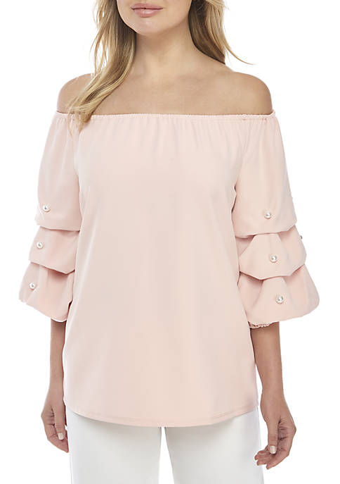 Puff Sleeve Top with Pearl Trim