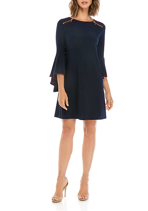 Exaggerated Bell Sleeve Trim Top