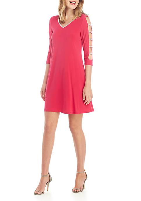 Long Sleeve V Neck Rhinestone Detail Dress