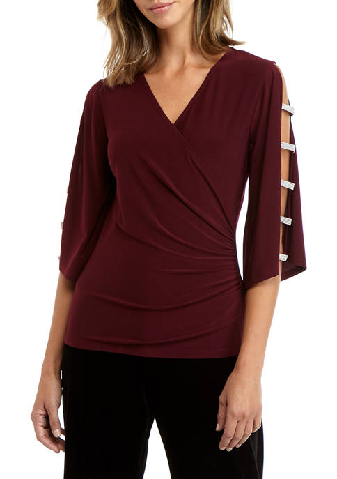 MSK Womens Side Ruch Open Sleeve Top