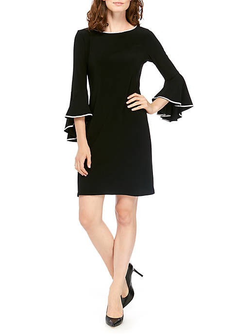 Womens Long Bell Sleeve Shift Dress