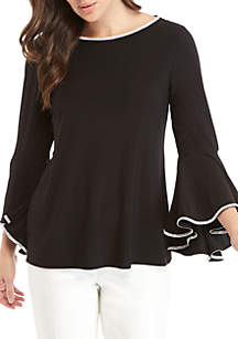 Embellished Bell Sleeve and Neck Blouse