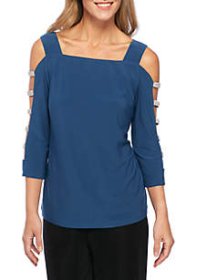Shimmering Lattice Sleeve Square Neck Top