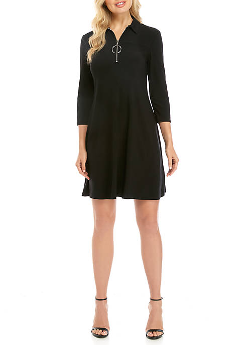 3/4 Sleeve Large Ring Zip Polo Dress