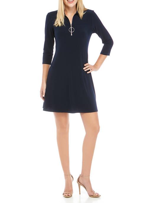 MSK 3/4 Sleeve Large Ring Zip Polo Dress