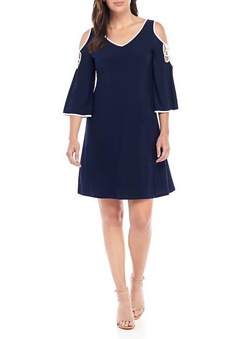IVY ROAD 3/4 Sleeve Solid Soutache Dress with