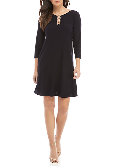 IVY ROAD Ring Neckline Jersey Shift Dress
