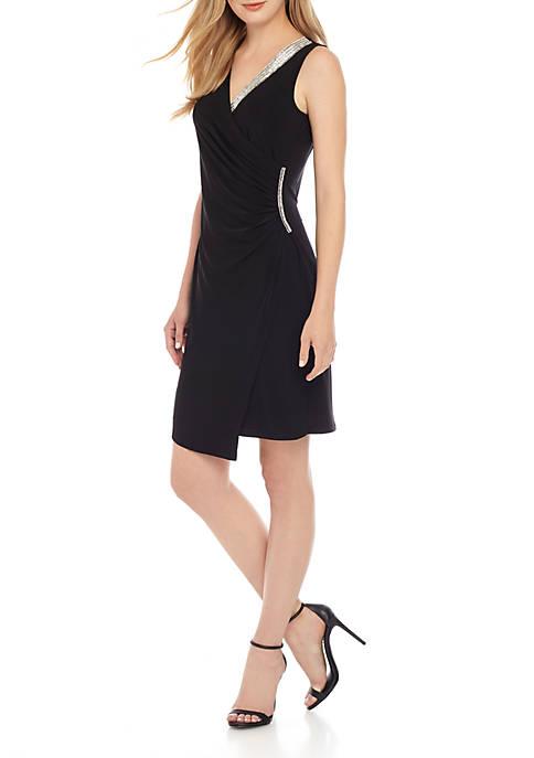 MSK Sleeveless Rhinestone Wrap Dress
