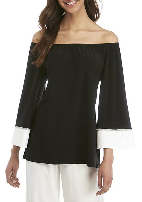 a11a7df4ff2c8e MSK Off the Shoulder Embellished Sleeve Top