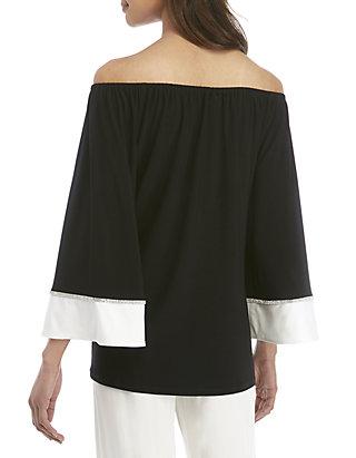 f97dbddf6f79b9 ... MSK Off the Shoulder Embellished Sleeve Top