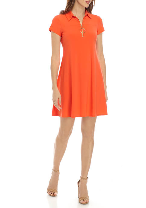 IVY ROAD Womens Ring Zipper Polo Dress