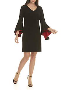 Solid V-Neck Bell Sleeve Dress
