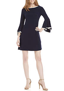 MSK 3/4 Bell Sleeve Dress with Piping