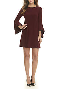 3/4 Bell Sleeve Dress with Piping
