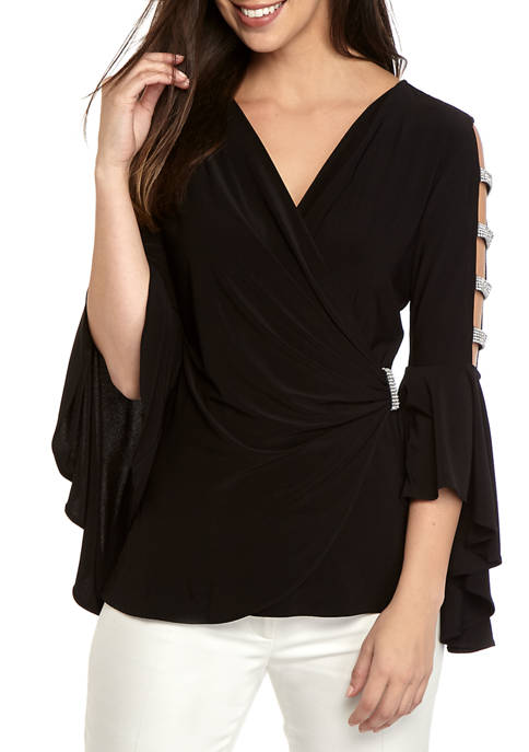 Womens Side Ruched Open Bell Sleeve Top