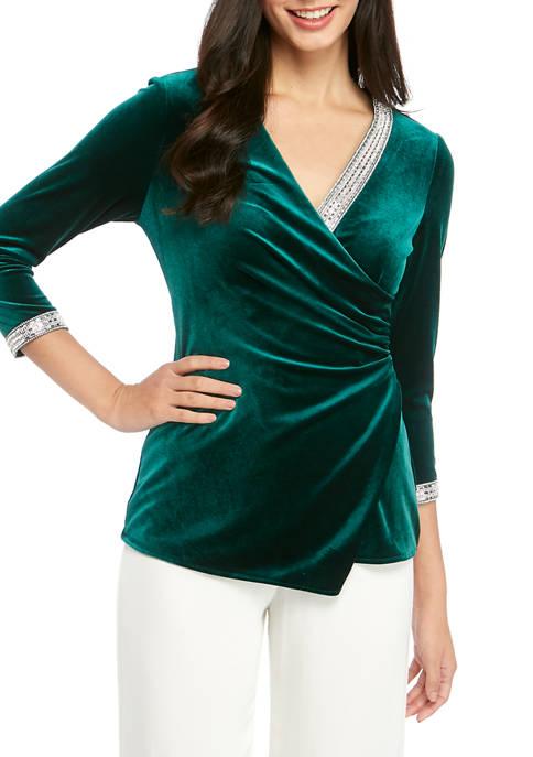 MSK Womens Long Sleeve Rhinestone Faux Wrap Velvet