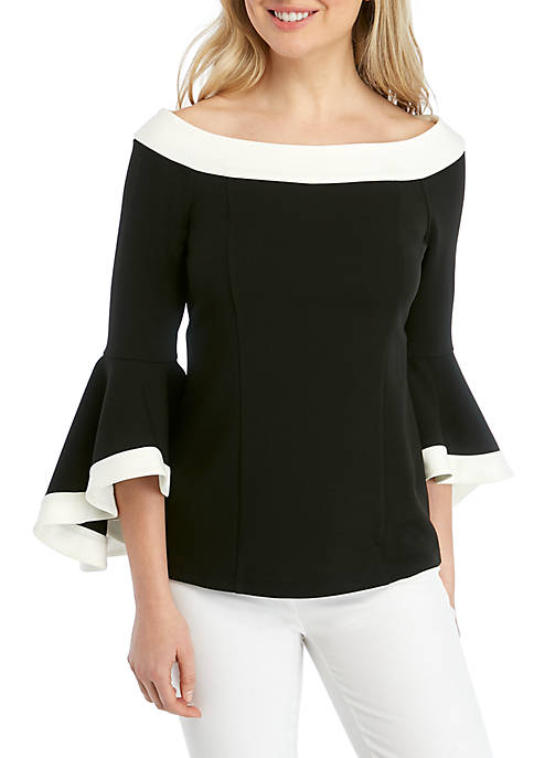 MSK Off The Shoulder Color Block Top