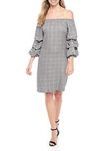 Glen Plaid Lantern Sleeve Dress