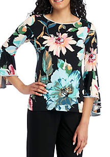 MSK Bell Sleeve Floral Top