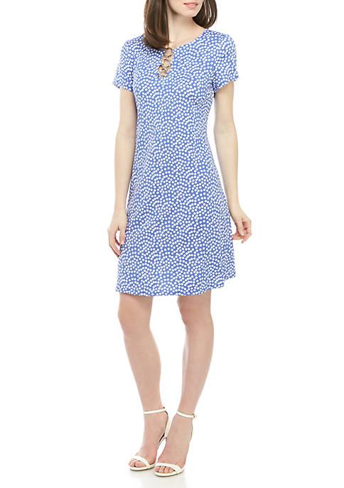 IVY ROAD Short Sleeve 3 Ring Dot Dress