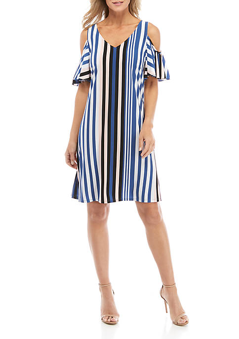 IVY ROAD Womens Cold Shoulder Stripe Dress