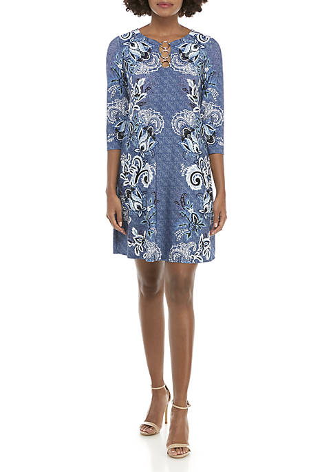 IVY ROAD 3/4 Sleeve Three-Ring Paisley Dress