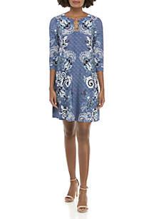 3/4 Sleeve Three-Ring Paisley Dress