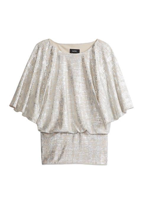 MSK Womens Banded Foil Kimono Sleeve Top