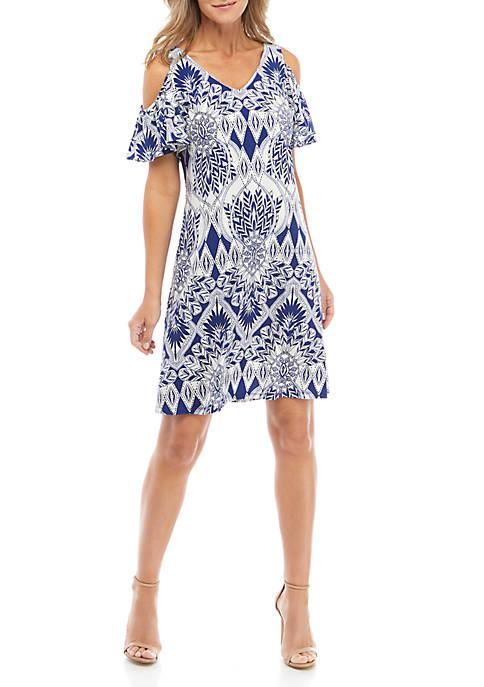 IVY ROAD Womens Cold Shoulder Stripe Dress