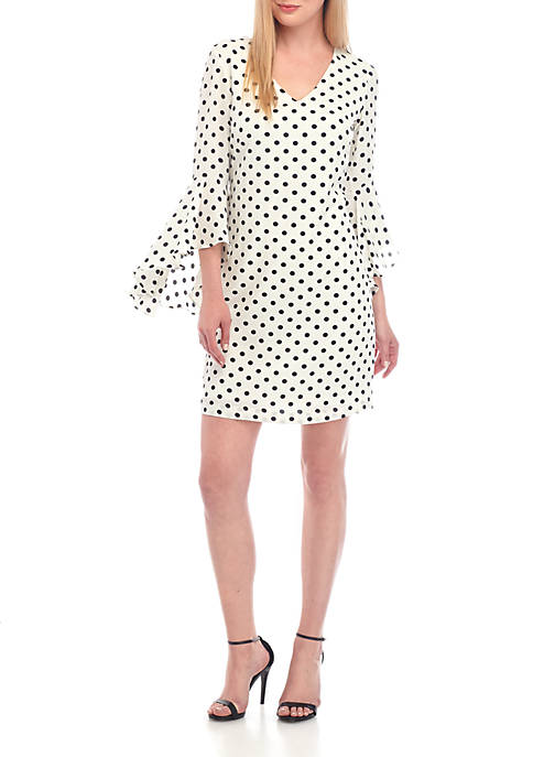 Exaggerated Bell Sleeve V Neck Dot Dress